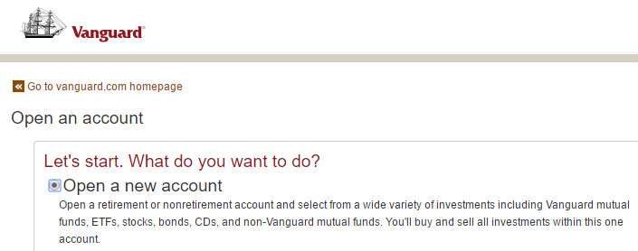 how to open a vanguard canada account