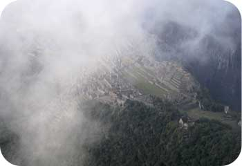 Machu picchu through the clouds
