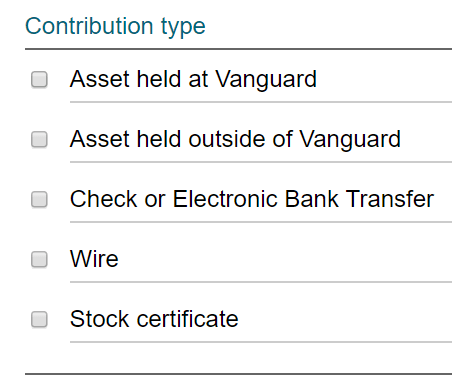 Vanguard Charitable Contribution