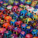Day of the Dead decorated skulls