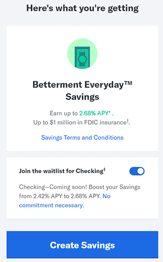 Betterment Create Savings