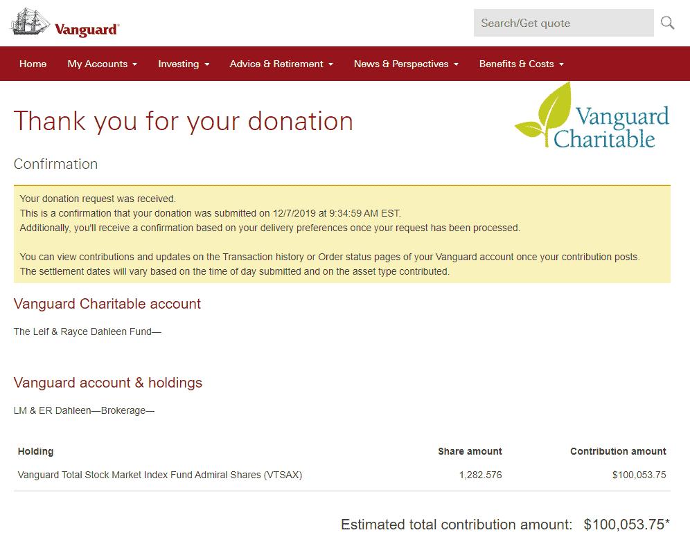 Vanguard Charitable 10