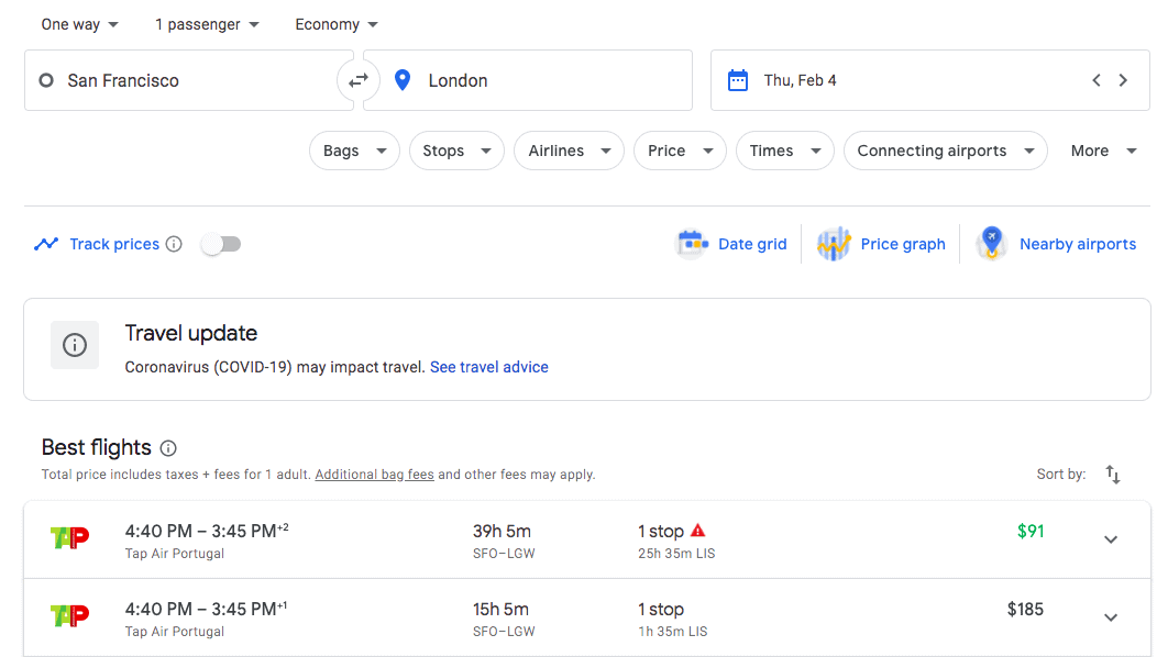 google-flights-results