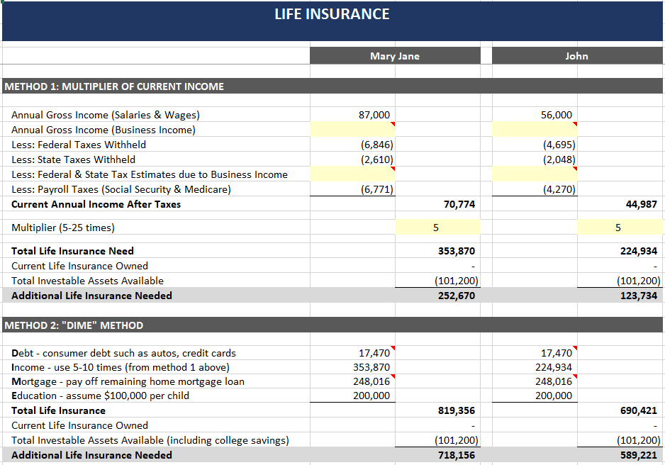 insurance spreadsheet